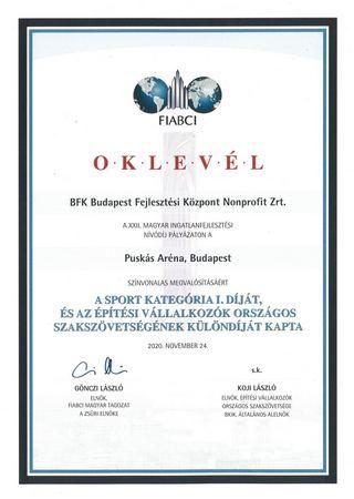 XXII_FIABCI_Oklevél_Puskas