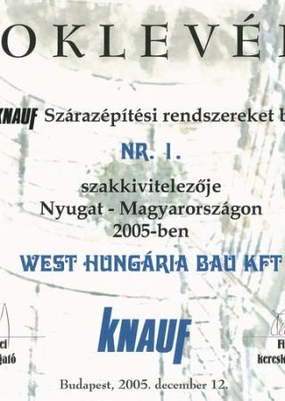 2005 Knauf Szakkivitelezői oklevél